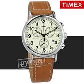 TIMEX 天美時 / TXTW2R42700 / 美國指標型男復古三眼計時日期真皮手錶 米白x卡其 40mm