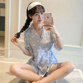 睡衣女夏季韓版清新學生短袖純棉冰絲可愛和服家居服兩件套裝日式 沸點奇跡