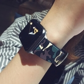 錶帶momo優品蘋果apple watch3手錶帶迷彩腕帶iwatch1/2硅膠錶帶潮女 交換禮物