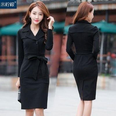 韓版洋裝裙子S-2XL新款女長袖連身裙中長款氣質修身顯瘦包臀裙收腰裙子H455-9066.胖胖唯依