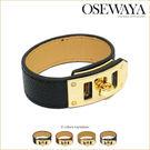 手環-旋釦式三段式皮製手環【日本飾品-OSEWAYA】【MORE日雜揭載】