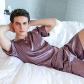 男士真絲睡衣夏季薄款冰絲家居服休閒短袖大碼性感絲綢短褲套裝
