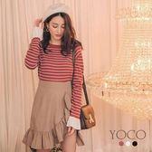 東京著衣【YOCO】細緻手感喇叭袖圓領針織長袖上衣-S.M.L(172457)