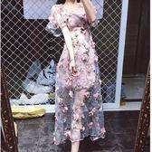 立體花朵透視小禮服洋裝 ♥ onetwo♥