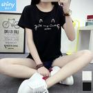 【V2858-1】shiny藍格子-瑕疵特賣.可愛印花圖樣圓領短袖上衣
