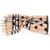 BURBERRY 黑色經典格紋心型喀什米爾圍巾(100%CASHMERE) 1620408-B3