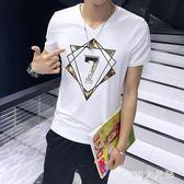 夏季短袖T恤男V領韓版上衣半袖體恤修身男士打底衫純色衣服潮男裝 QG4555『M&G大尺碼』