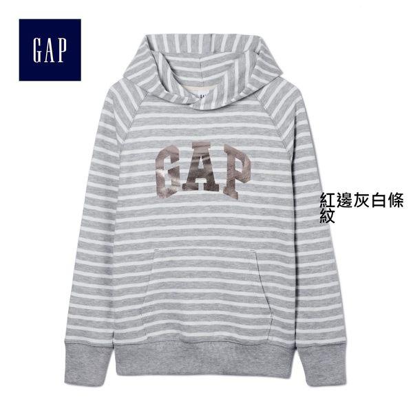 Gap女裝 LOGO徽標條紋連帽套頭衛衣 317453-紅邊灰白條紋