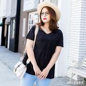 大尺碼上衣 V領寬鬆短袖T恤女2019夏裝新款韓版純黑色棉質衣服 rj2088『pink領袖衣社』