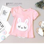 純棉 可愛兔兔公主袖後蕾絲雕花上衣 蝴蝶結 竹節棉 柔軟 舒適 甜美 兔子 粉色 女童 哎北比童裝