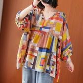 短袖襯衫~棉麻襯衫上衣~胖MM棉麻洋氣清新文藝T恤裙上衣 5F005衣時尚