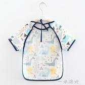 寶寶吃飯罩衣兒童防水反穿衣純棉夏天薄款無袖可拆卸飯兜嬰兒圍兜 聖誕節免運