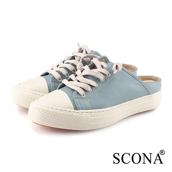 SCONA 蘇格南 全真皮 樂活綁帶厚底便鞋 映藍色 7354-2