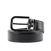 【MONT BLANC】閃亮馬蹄形鍍鈀針式搭扣雙面可用皮帶(黑色/棕色) 128139