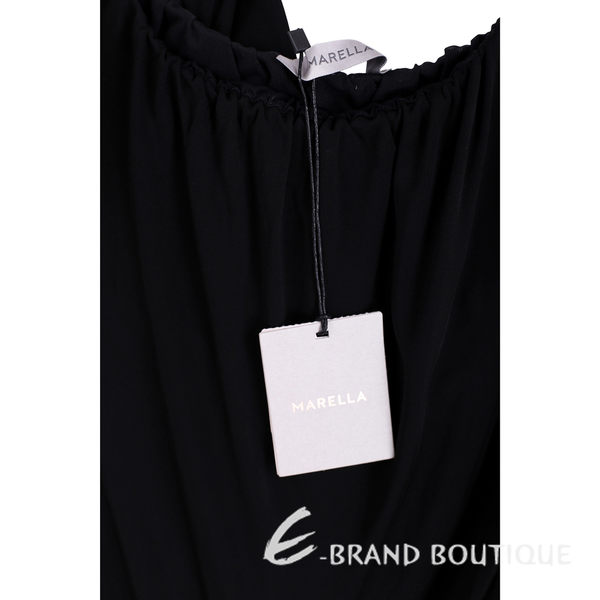 MARELLA 黑色縮領背心式寬管連身褲 1620507-01