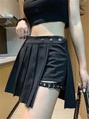 舞蹈裙 百褶裙戰術短裙女夏a字高腰顯瘦 暗黑裙子酷爵士跳舞黑色半身裙褲 瑪麗蘇