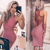 露背洋裝修身百搭紅色條紋顯瘦露背吊帶洋裝中長裙伊芙莎