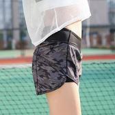迷彩健身假兩件褲運動速干短褲【洛麗的雜貨鋪】