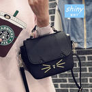 【P098】shiny藍格子-可愛異想.新款可愛小貓斜挎手提單肩小方包
