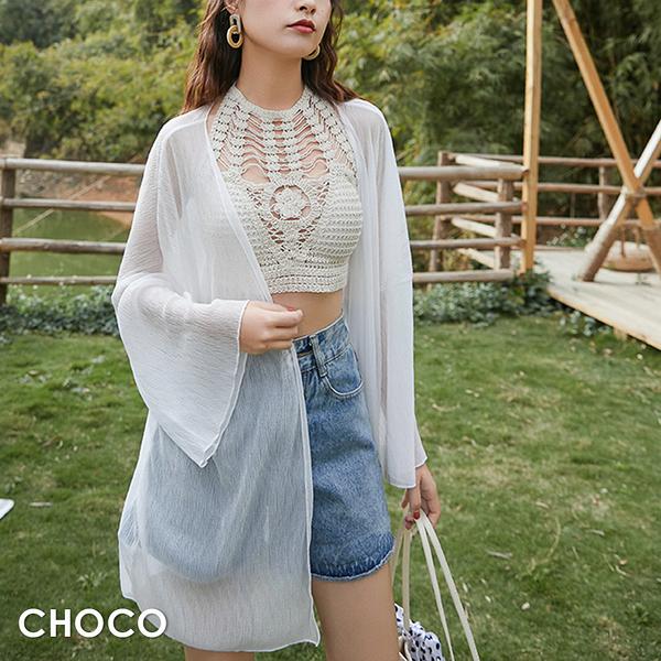 Choco Shop-馬爾地夫之夏.輕薄壓褶中長版雪紗罩衫(白色) Free Size