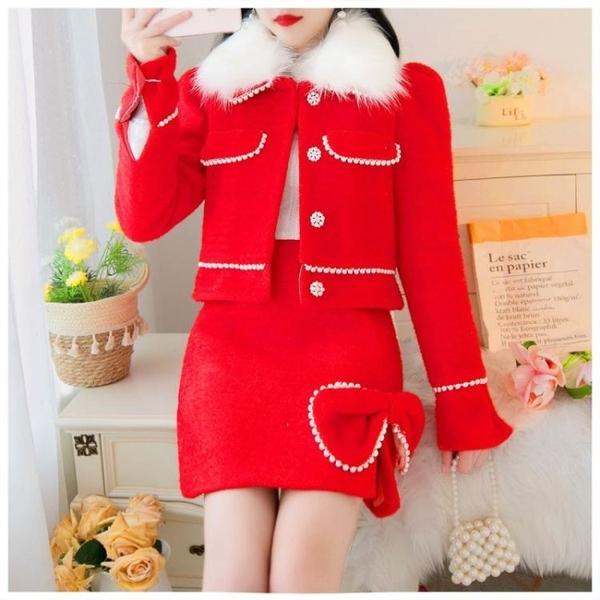 2020年新款秋冬季名媛氣質裙子套裝女網紅小香風紅色圣誕兩件套快速出貨
