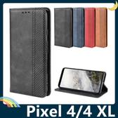 Google Pixel 4/4 XL 復古格紋保護套 磨砂皮質側翻皮套 隱形磁吸 支架 插卡 手機套 手機殼 谷歌