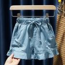 女童牛仔短褲 春夏裝新款女童兒童童裝寶寶洋氣寬管牛仔短褲熱褲花邊裙褲子-Ballet朵朵
