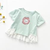 寶寶短袖T恤夏季新生兒上衣洋氣女童條紋半袖薄款3歲花邊上衣夏裝 滿天星