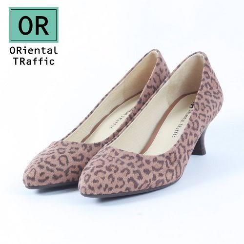 【ORiental TRaffic】極簡絨面尖楦中跟鞋-豹紋咖