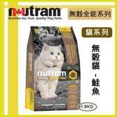 【年終回饋】*WANG*紐頓nutram《無穀全能-貓 鮭魚配方T24》1.8kg