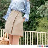 《BA3940-》高含棉暗色調俐落A字短褲裙 OB嚴選