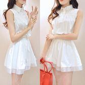 【好康618】夏季新款小清新無袖襯衫蓬蓬白色連身裙
