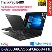 【ThinkPad】E480 20KNCTO2WW 14吋i5-8250U四核1TB+256G SSD雙碟RX550獨顯商務筆電(三年保)
