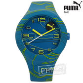 PUMA / PU103211028 / 動感跳躍線條矽膠手錶 藍色 47mm★加購鋼化玻璃膜★