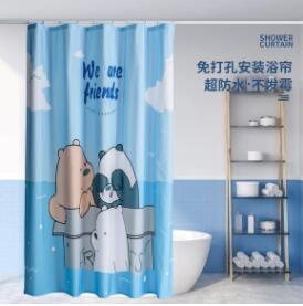 浴簾浴室套裝免打孔擋水簾防水防霉布洗澡間磁吸掛簾衛生間隔斷簾 NMS名購新品