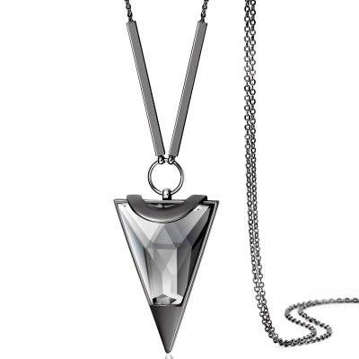 奧地利水晶項鍊-迷人三角形生日聖誕節禮物女毛衣鍊2色73fv144【時尚巴黎】