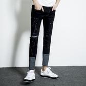 找到自己 MD 韓國 潮 男 時尚 暗黑 割破 破洞 修身顯瘦 潑墨漆點 卷邊 牛仔褲 小腳褲 九分褲