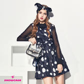 【SHOWCASE】俏麗圓點腰蝴蝶結V領洋裝(黑)