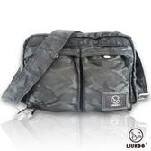 ~禾雅~LIUKOO 戰地叢林迷彩系列雙口袋 防潑水小容量側背包~神秘黑~