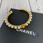 BRAND楓月 CHANEL 香奈兒 2020年 珍珠手環 金色LOGO 手鐲 配飾 配件 飾品 金屬手環 #M號
