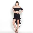 荷葉邊一字領上衣+短裙(兩件套)-歐美時尚大方魚尾女裙裝2色73lk4【巴黎精品】