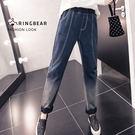 長褲--美式復古時尚刷色漸層2D效果顯瘦...