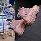 馬丁靴女夏季靴子女2019新款網紅百搭學生平底透氣復古機車短靴女mks歐歐