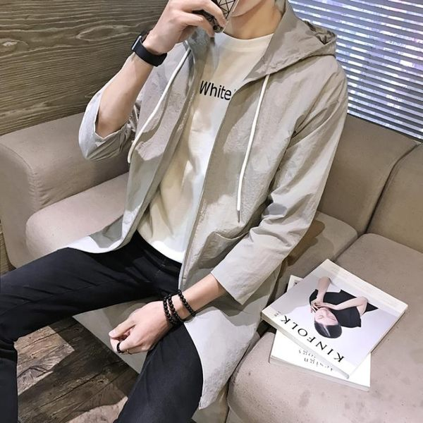 2019風衣男韓版夏季防曬新款中長款大衣修身學生帥氣披風薄款外套『潮流世家』