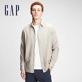 Gap男裝 亞麻混紡休閒長袖襯衫 807444-燕麥米色