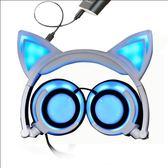 TW爆款充電款貓耳朵頭戴式發光可折疊電腦音樂耳機