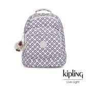 Kipling 復古花磚前側拉鍊大口袋後背包-ICHIWA S