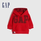 Gap嬰兒 Logo碳素軟磨連帽休閒上衣 656187-紅色