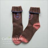 襪子法國娃娃蕾絲紳士領針織反摺短襪三色Calling 可妮