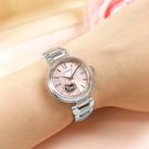 CITIZEN 星辰表 / PR1024-84X / 鏤空愛心 機械錶 晶鑽 藍寶石水晶玻璃 不鏽鋼手錶 粉x鍍香檳金 28mm